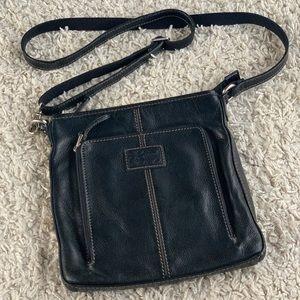Fossil Black Leather Crossbody Flat Adjustable Zip Around Front Pocket EUC